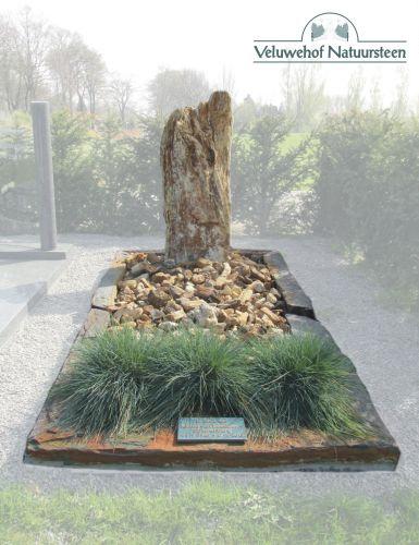 R58 – Grafsteen versteend hout met bronzen tekstplaat