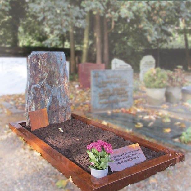 Grafsteen met cortenstaal en een franse leisteen